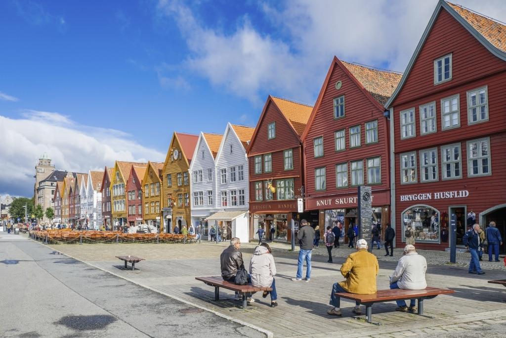 Centrum van Bryggen in Bergen, Noorwegen
