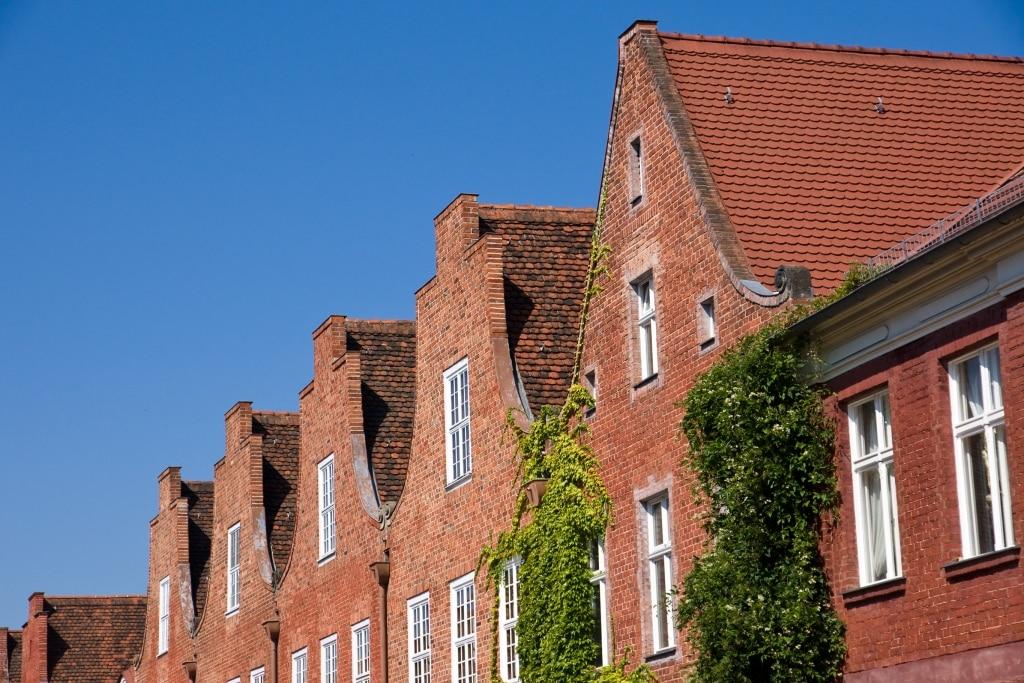 Huizen in de Hollandse wijk in Postdam, Berlijn, Duitsland