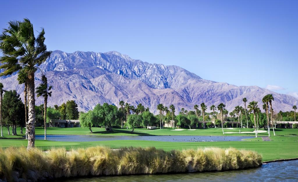 Een golfbaan in Palm Springs, Verenigde Staten
