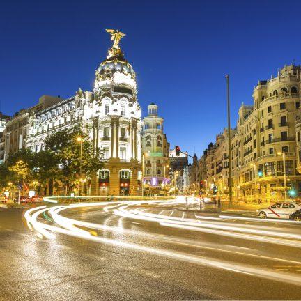 Gran Via in Madrid, Spanje