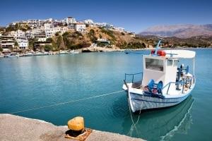 De haven van Agia Galini op Kreta, Griekenland