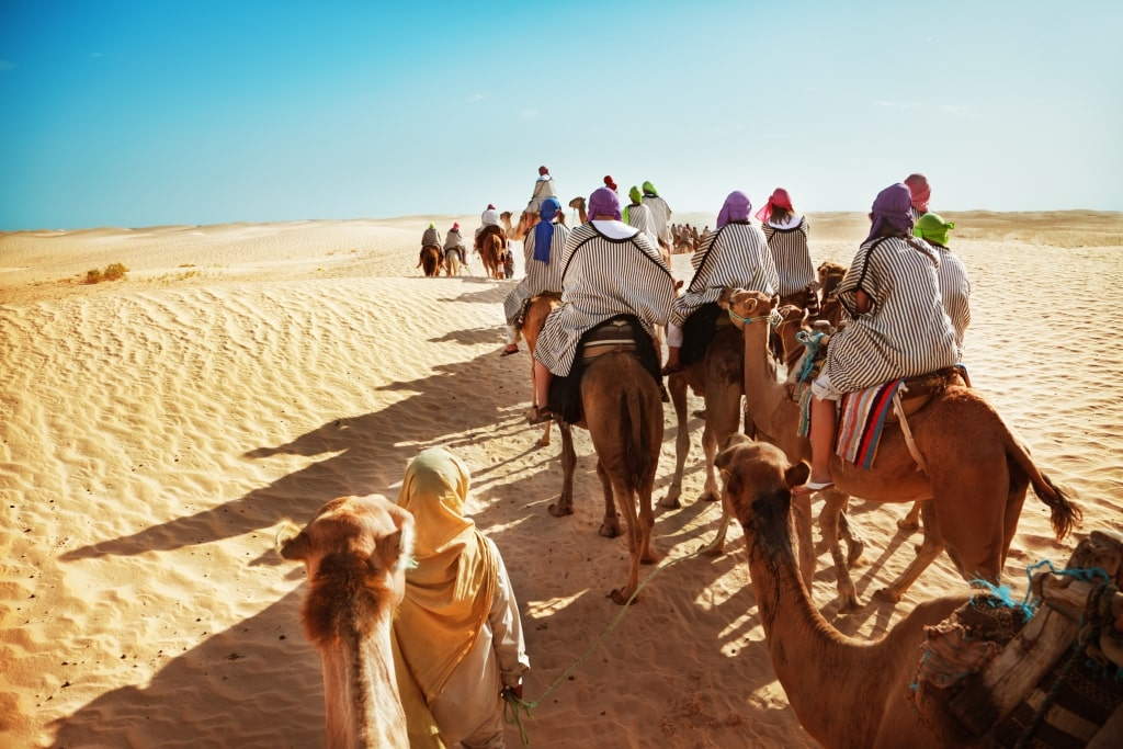 Kameelrijden in de Sahara, Marokko