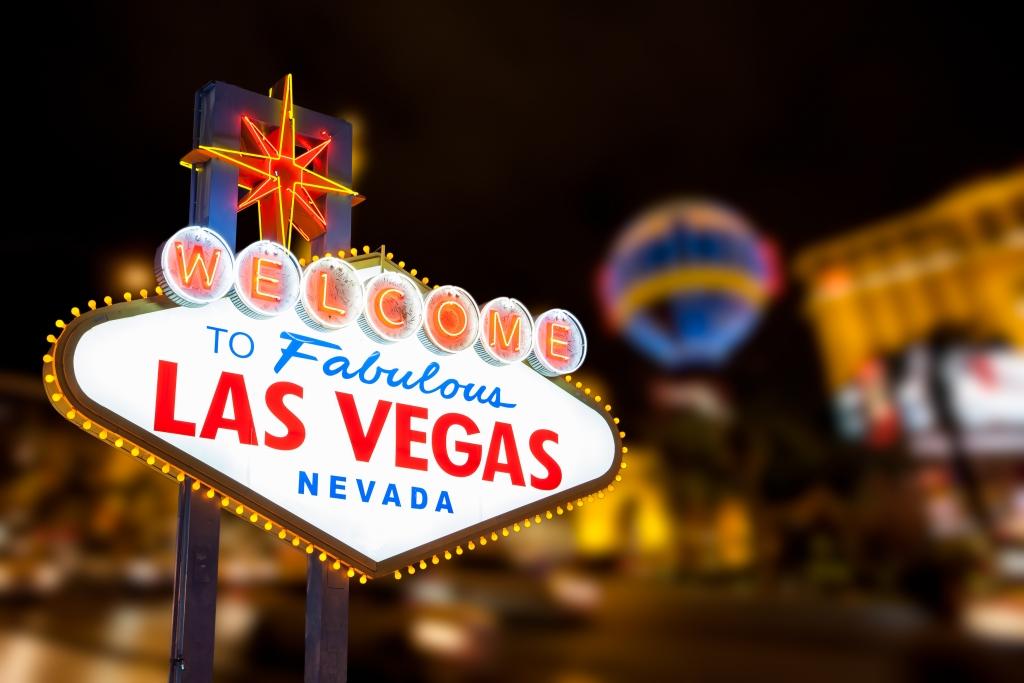 Las Vegas bord en The Strip op de achtergrond in de Verenigde Staten