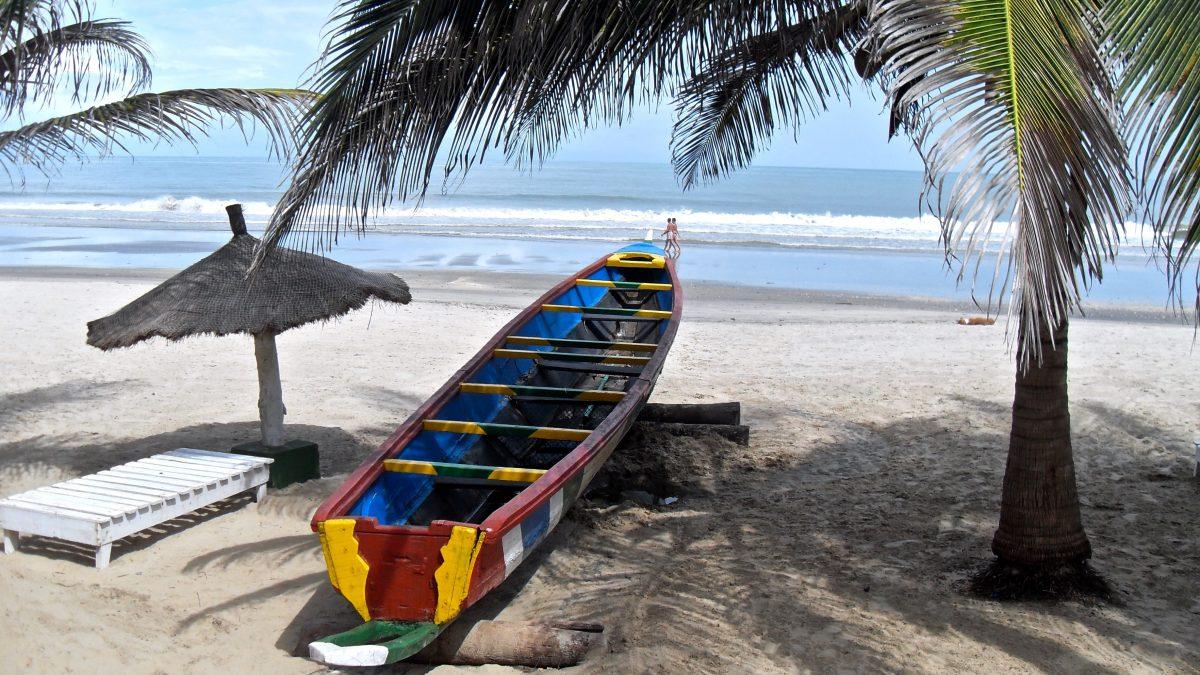 Boot onder een palmboom op het strand in Gambia