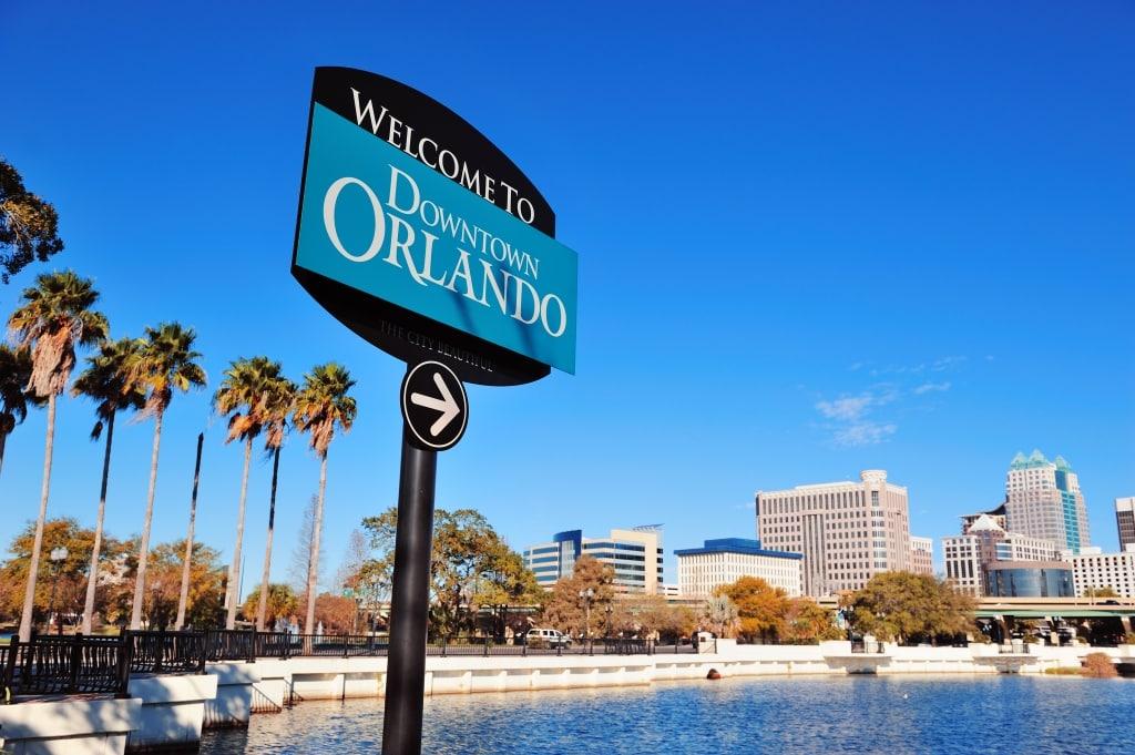 Bord met welkomsttekst in Orlando, Florida, Amerika
