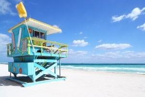 Strandhuis van de strandwacht in Miami, Florida, Amerika