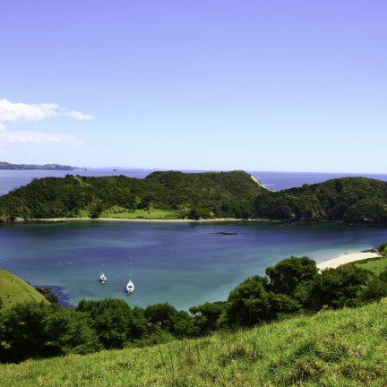 Uitzicht over Bay of Islands in Nieuw-Zeeland