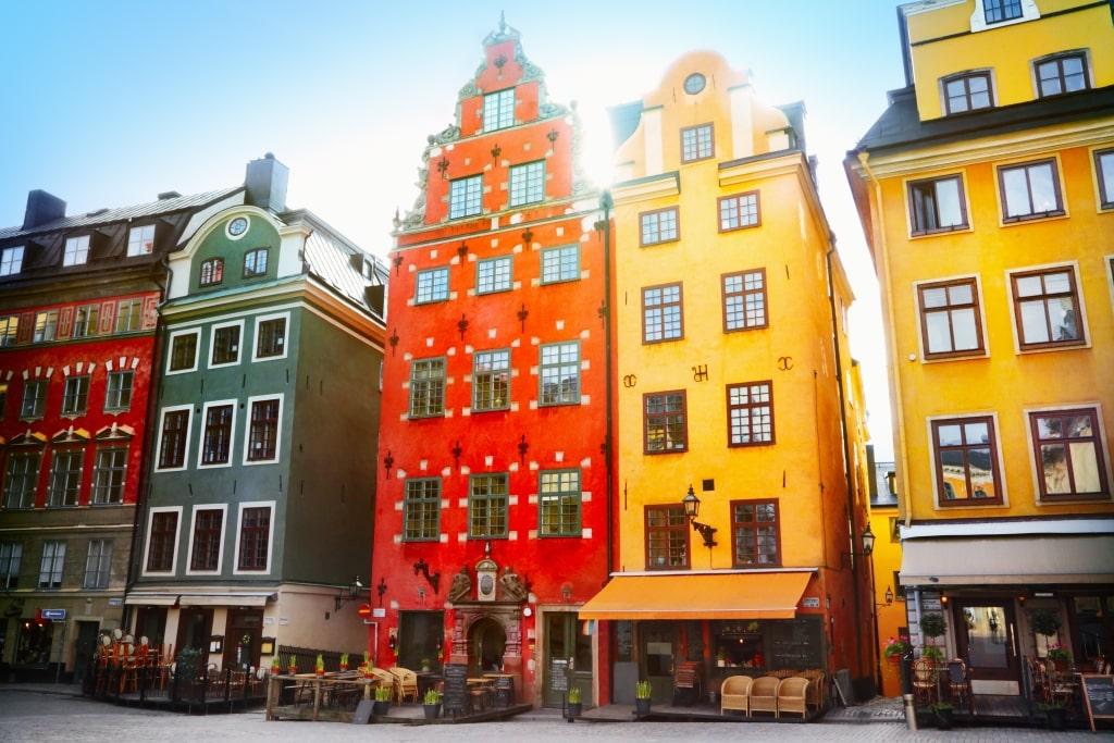 Oude huizen in Stockholm, Zweden