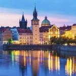 Oude deel van Praag in de avond