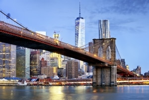 Brooklyn bridge and WTC Freedom tower in New York