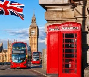 Bussen, Big Ben en rode telefooncel in Londen, Engeland