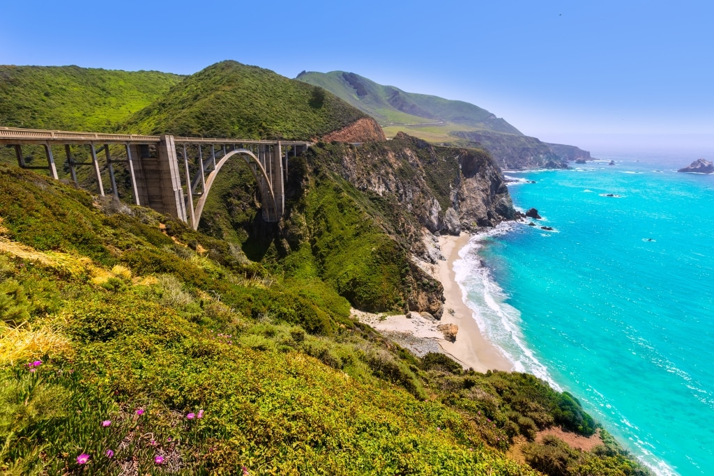 California Bixby bridge op de Highway 1 in Amerika