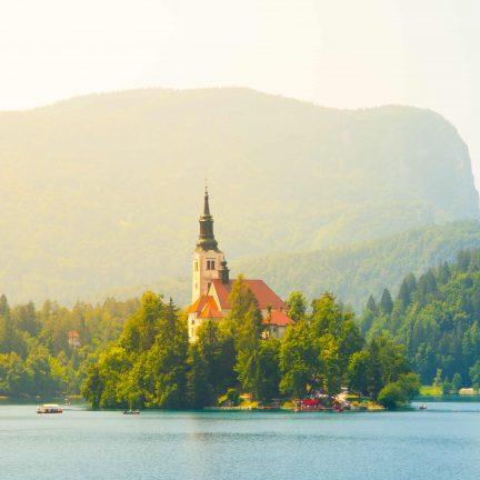 Kerk op Meer van Bled, Slovenië