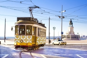 Tram in Lissabon, Portugal