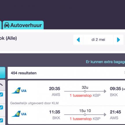 Retourticket Amsterdam - Bangkok voor 386 euro