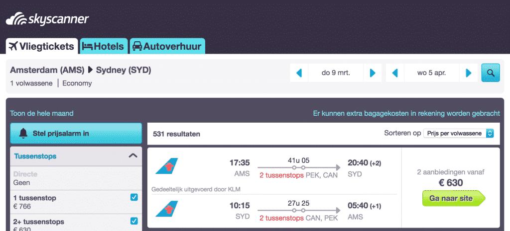 Vliegticket: voor €630 retour naar Australië