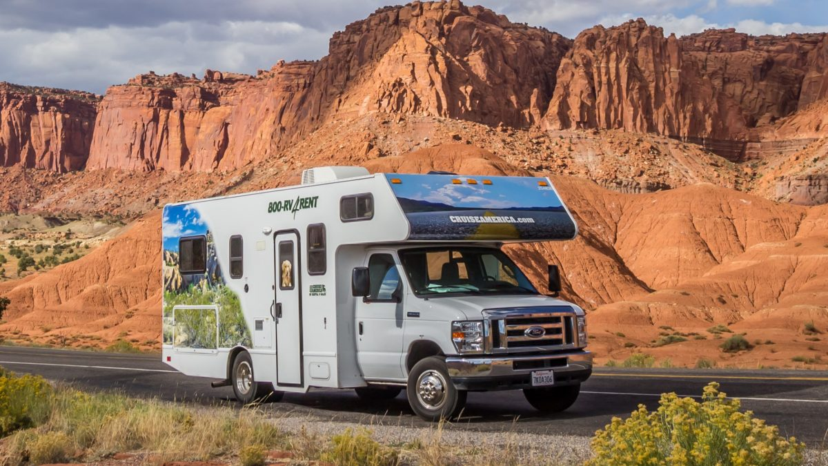 Camper in aan Nationaal Park in West-Amerika