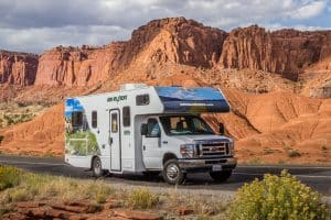Camper in aan Nationaal Park in West-Amerika