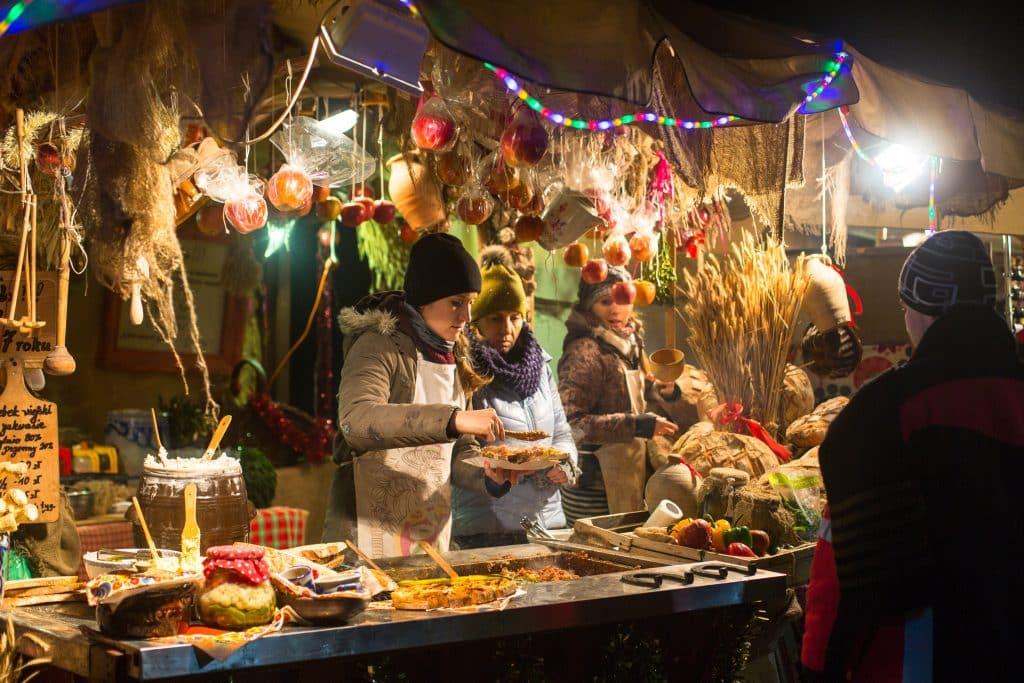 Kerstmarkt in Krakau, Polen