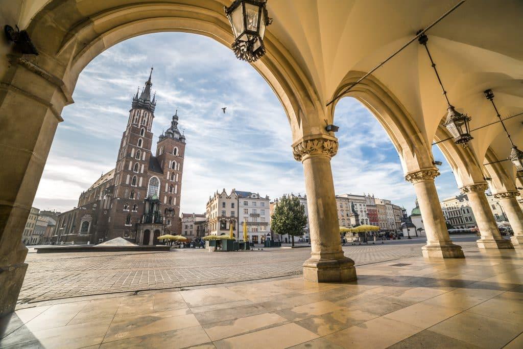 Marktplein van Oude stadscentrum van Krakau, Polen