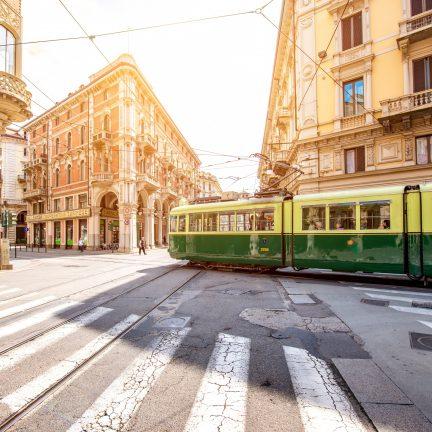 Oude tram in de stad Turijn, Italië