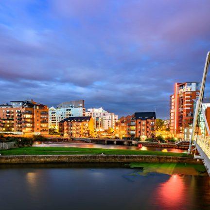 Uitzicht over Leeds, Engeland