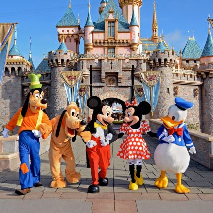 Goofy, Pluto, Mickey en Minnie Mouse en Donald Duck in Disney World Orlando in Florida, Verenigde Staten