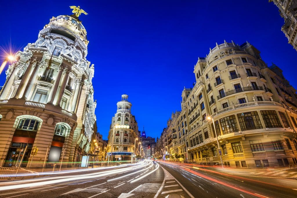Gran Via in Madrid, Spanje