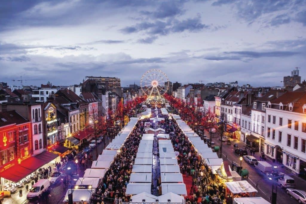 Kerstmarkt in Brussel, België