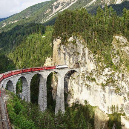 Landwasser Viaduct in Filisur, Zwitserland