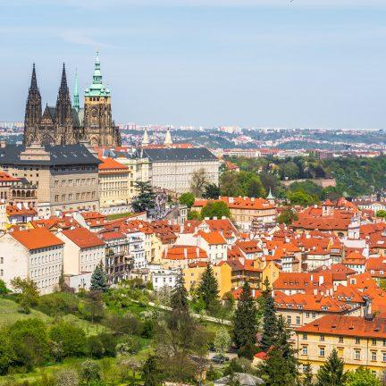 Uitzicht op de Praagse Burcht in Praag, Tsjechië