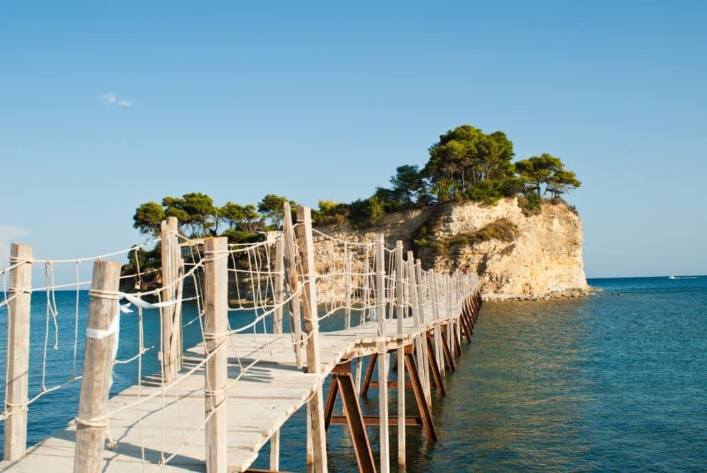 Brug naar eiland op Zakynthos, Griekenland