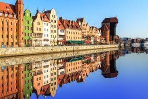 huizen aan de kade in gdansk polen
