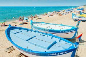 Strand van Hotel Sorrabona in Pineda de Mar, Spanje