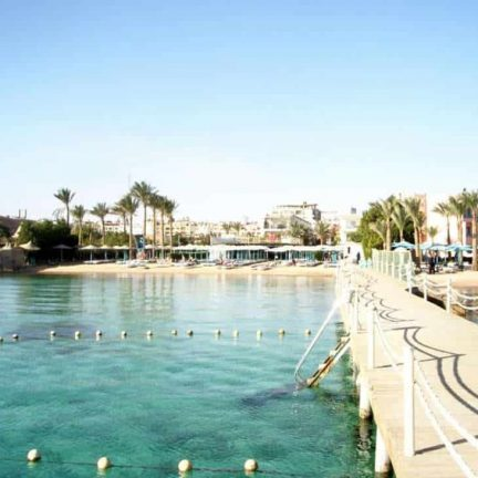 Strand van Minamark Beach Resort in Hurghada, Egypte