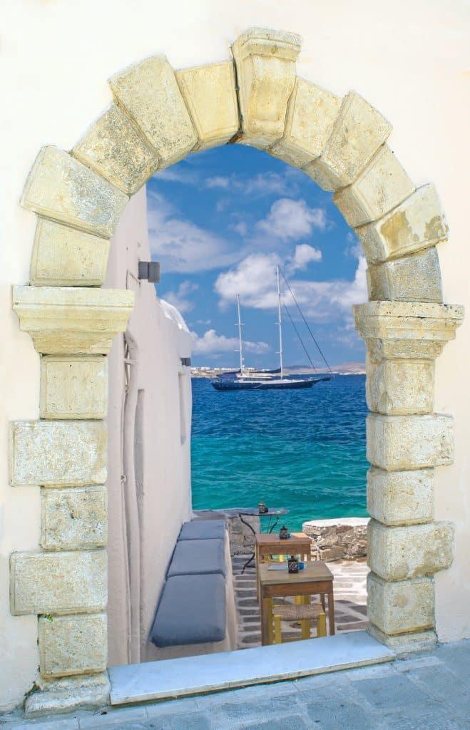 Uitkijk op zee op Skopelos, Griekenland