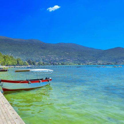 Boot in het Meer van Ohrid, Macedonië