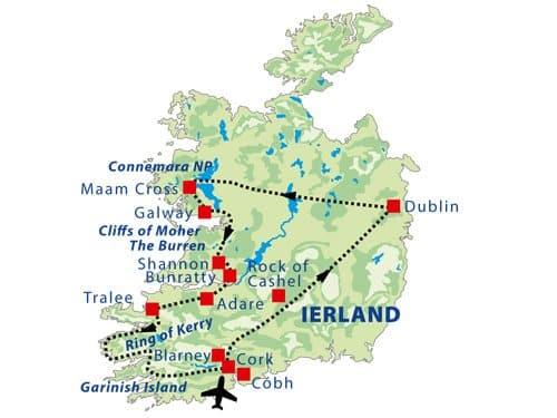 Routekaart Fly drive Ierland