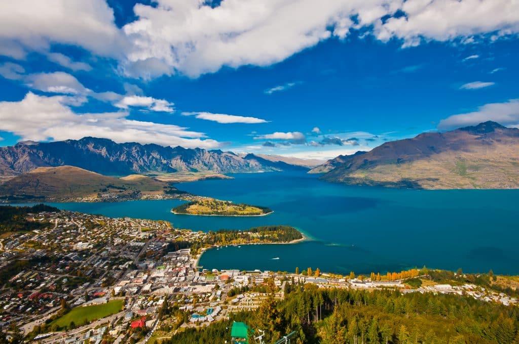 Uitzicht over Queenstown in Nieuw-Zeeland