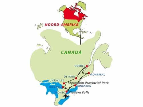 Routekaart van rondreis door Oost-Canada