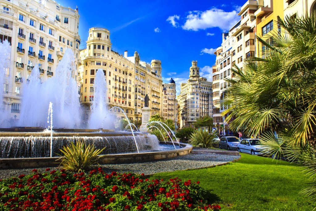 Plaza del Avuntamiento in Valencia, Spanje