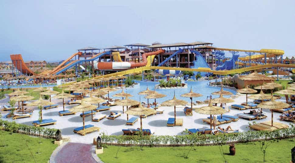 Glijbanen van Pickalbatros Jungle Aqua Park in Hurghada, Egypte