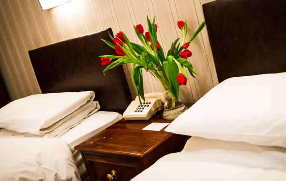 Hotelkamer in het Columbia Hotel in Londen, Verenigd Koninkrijk