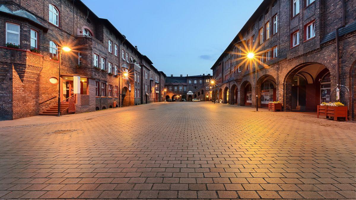 Oude gebouwen in Katowice, Polen