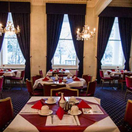 Ontbijt in het Columbia Hotel in Londen, Verenigd Koninkrijk