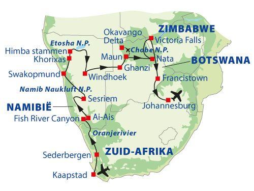 Dagprogramma van Rondreis en safari door zuidelijk Afrika