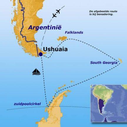 Route van de rondreis langs Antarctica