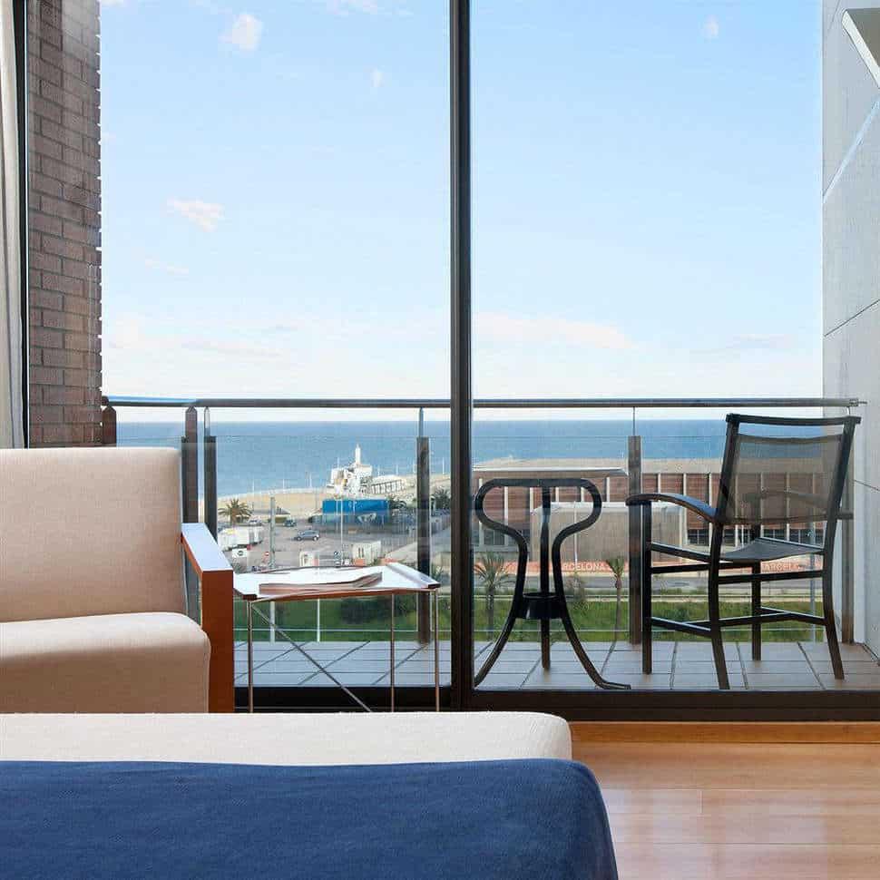 Hotelkamer met zeezicht van Hotel Hesperia Del Mar in Barcelona, Spanje