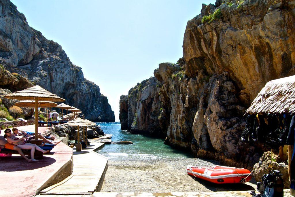 Strand bij Kalypso Cretan Resort en Spa in Plakias, Kreta