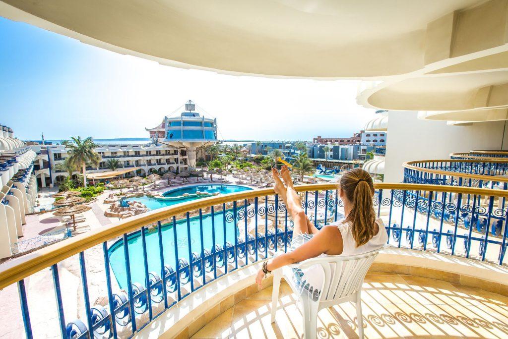 Balkon van het Seagull Resort in Hurghada, Egypte